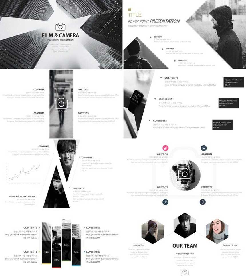 ppt template free sharing – concept of black and white photos