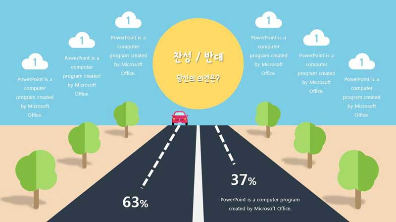 Cute concept free powerPoint Template, road and chart