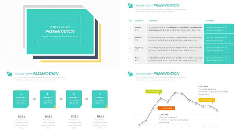 mint color free ppt template