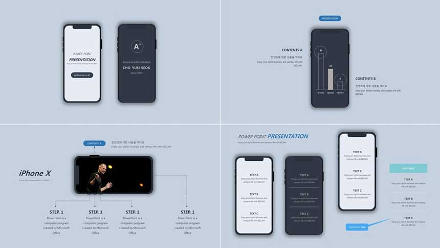 iPhone, smartphone layout ppt template